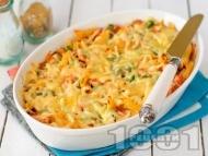 Печени макарони със спанак, шунка и заливка от яйца, прясно мляко и пармезан
